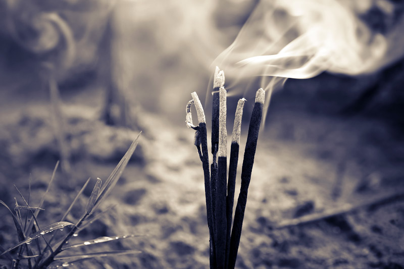 burning incense  spiritual meditation